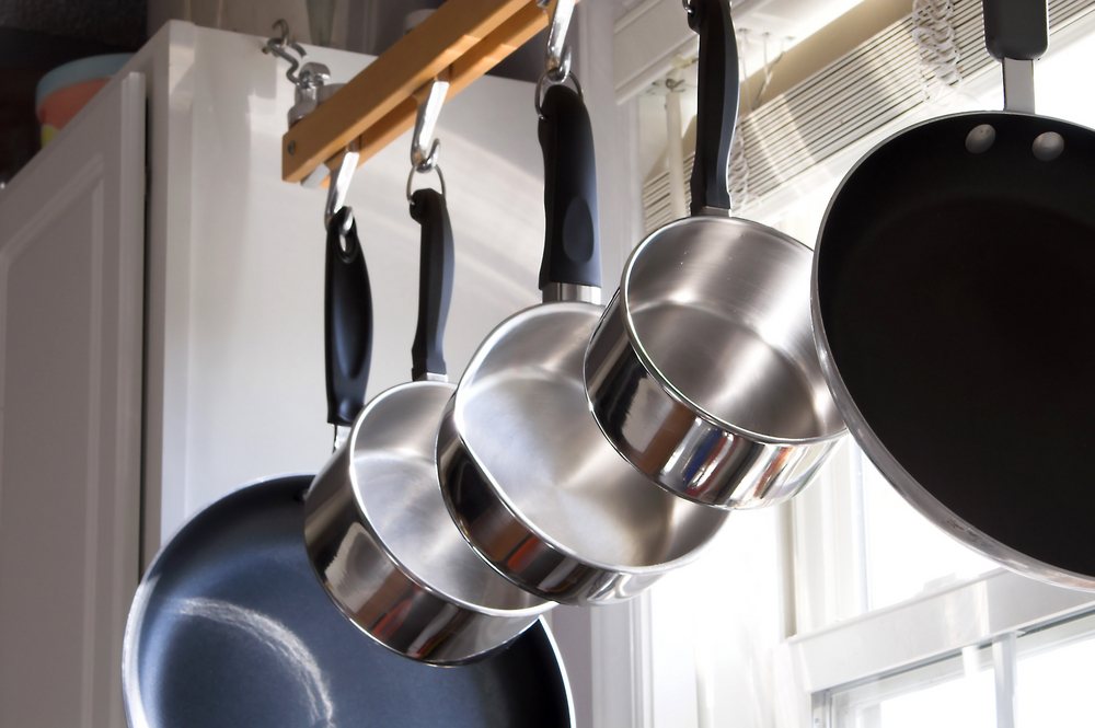 hang pots in the kitchen