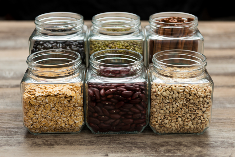 use clear jars in the kitchen